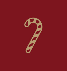 candy cane icon new year and xmas christmas vector image