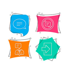 chat stop talking and support service icons vector image