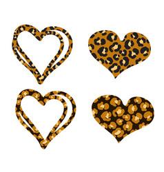 Cheetah heart print object set isolated on vector