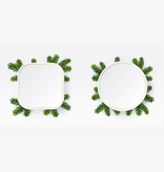 christmas frame branches white blank vector image
