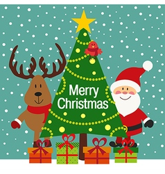 Christmas greeting card with Santa and deer vector