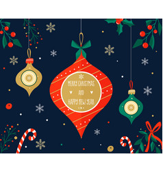 christmas holiday greeting card with decorations vector image