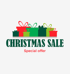 christmas sale banner with gift boxes isolated on vector image