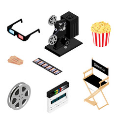 cinema icons set movie industry objects colorful vector image