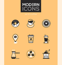 coffee - set of line design style icons vector image
