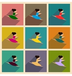 Concept flat icons with long shadow ballet vector