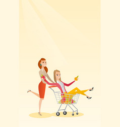 Couple of friends riding in shopping trolley vector