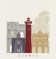 Cuenca skyline poster vector