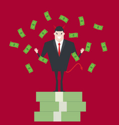 devil businessman standing on growth money stairs vector image