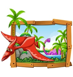 Dinosaurs in wooden frame vector