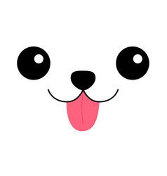 Dog happy square face head icon pink tongue out vector