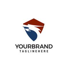 dragon head shield logo design concept template vector image