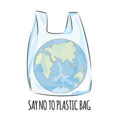 Europe no plastic ecological problem illust vector