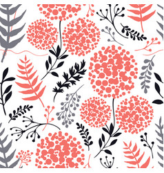 floral background living coral gray black colors vector image