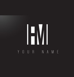 Fm letter logo with black and white negative vector