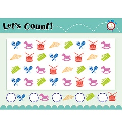 Game template for counting objects vector