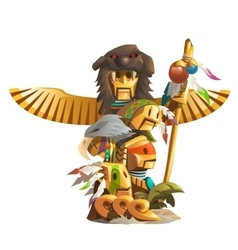Golden ancient totem man with bird wings vector