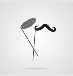 gray mustache and lips on stick flat icon vector image