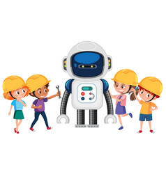 Group of children playing with robot vector