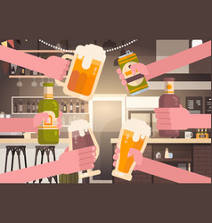 Group of hands clinking beer people in pub or bar vector