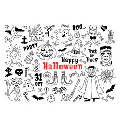 halloween doodle icon set sketch icons vector image