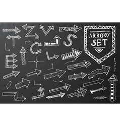 Hand drawn arrow icons set on black vector image