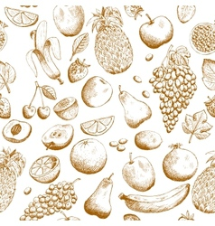 Hand drawn fruits seamless pattern vector image