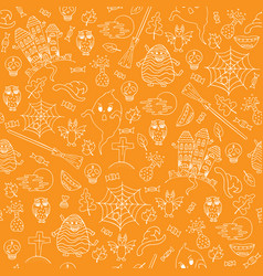 hand-drawn halloween orange seamless pattern with vector image