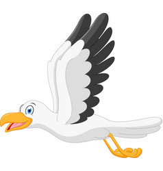 happy seagull cartoon flying vector image
