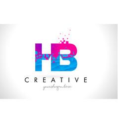 hb h b letter logo with shattered broken blue vector image