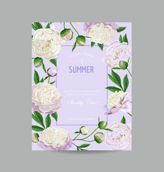 Hello summer floral design blooming white peonies vector