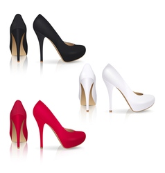 High heeled Shoes in Black White and Red vector
