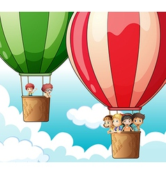 Hot air balloons flying vector