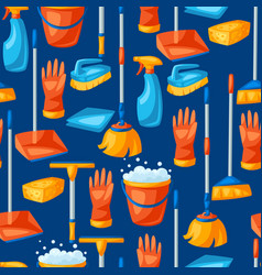 housekeeping seamless pattern with cleaning items vector image