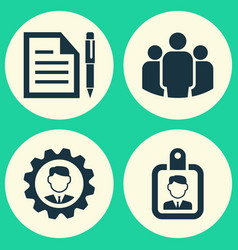 Job icons set collection of leader contract id vector