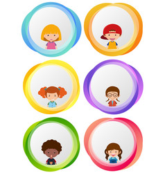 label designs with happy kids vector image