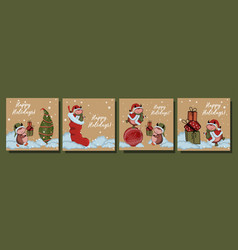 large set christmas cards year bull vector image