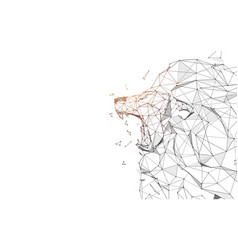 lion roaring from lines triangles and particle vector image