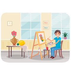 man draws with brush and palette in his hands vector image