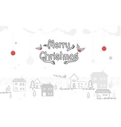 merry christmas winter snow countryside vector image