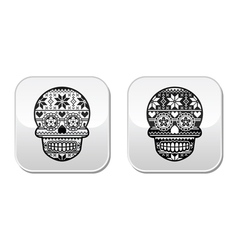 Mexican black sugar skull buttons with winter Nord vector image