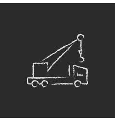 Mobile crane icon drawn in chalk vector