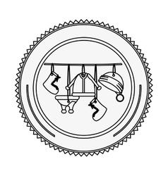 Monochrome contour circle with santa clothes vector