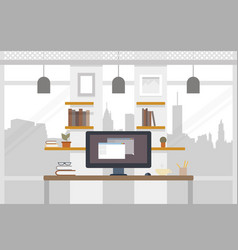 office worlplace working in flat design work vector image