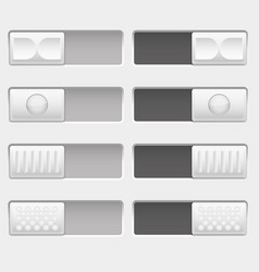 On and off control slider buttons set white vector