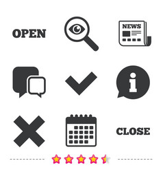 Open and close icons check or tick delete sign vector