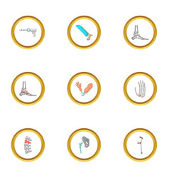 Orthopedic surgery icons set cartoon style vector