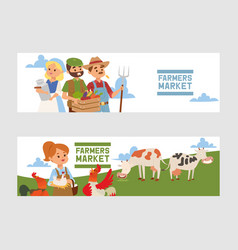 people buying fresh local vegetable from farm vector image