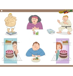 people on diet cartoon set vector image