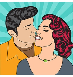 Pop Art KIssing Couple vector image